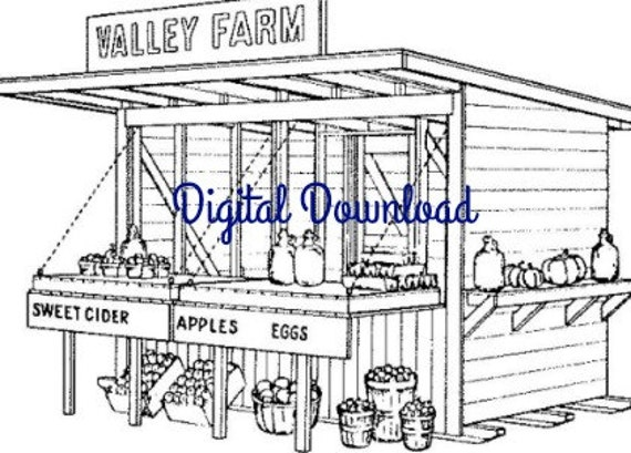 Mobile Roadside Fruit Vegetable Farm Stand Woodworking Blueprints, 6 x 12, Home Small Business, PDF Instant, Digital Download