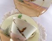 Teacup trio - Royal Doulton vintage trio V2105 'The coppice' with pheasant pattern - Made in England - c1930s