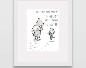 Things That Make Me Different Classic Winnie the Pooh Nursery Art INSTANT DOWNLOAD