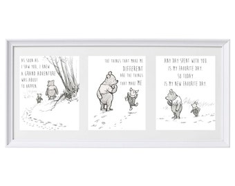 Classic Winnie the Pooh Set of Three Prints Wall Art Nursery Art Set #3