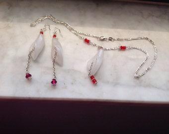 Necklace Sterling Rose Quartz Flower Swarovski Crystals