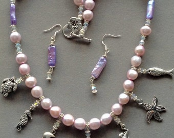 Necklace Pearls Swarovski Crystals earring set nautical charms