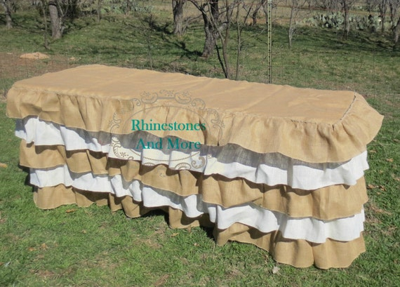ruffled burlap tablecloth for 6 foot table by rhinestonesandmoretx. Black Bedroom Furniture Sets. Home Design Ideas