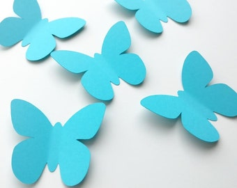 Turquoise Butterfly Paper Butterflies Butterfly Party 30 Butterfly Decoration Turquoise Wedding 3d Wall Decor Baby Shower (2 1/2 x 2 inches)