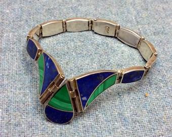 Genuine Lapis and Malachite Inlay Sterling Silver Panel Bracelet