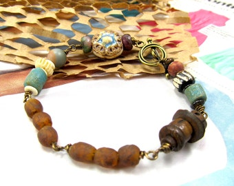 Tribal Bracelet, Tourmaline & Ghana Glass, African Trade Bead Bracelet, Blue and Brown, Matte Jasper Bracelet, Handmade Porcelain Star Bead