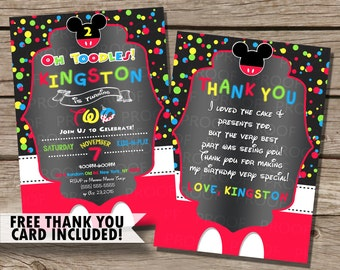 Custom Mickey Mouse Invitation [FREE Thank You Card INCLUDED!]