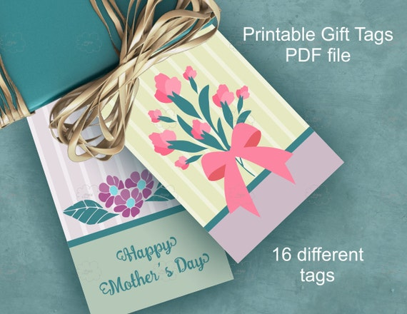 Mother's Day gift tags with spring flowers bouquet - green purple - printable hang tags set of 16 unique tags PDF download