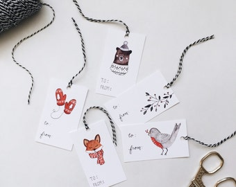Woodland Holiday Gift Tags - Set of 10