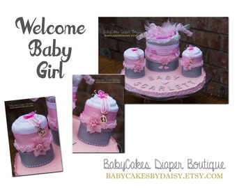 Welcome Baby Girl, Diaper Cake Centerpiece, Baby Girl Diaper Cake, It's a Girl Baby Shower Gift, Baby Girl Diaper Cake Gift