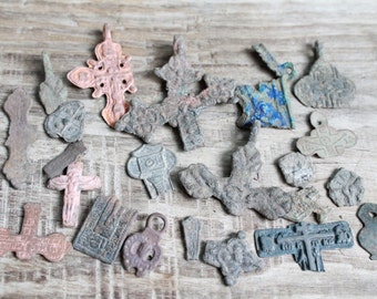 archaeological finds / Lot of 20 antique crosses and parts of crosses and charms / antique cross / digging objects / antique jewelry   #4