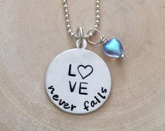 Love Never Fails Necklace - Heart Necklace - Valentine Necklace
