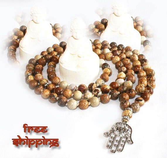 Japa Mala Hand Knotted 108 Picture Jasper Gemstone 8mm Beads Prayer Yoga Necklace for Meditation and Mantra - Free Shipping