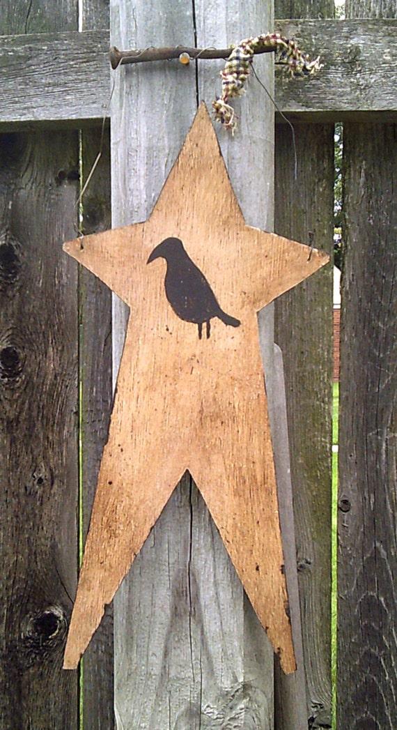 Primitive Handpainted Black Crow on Grubby Star