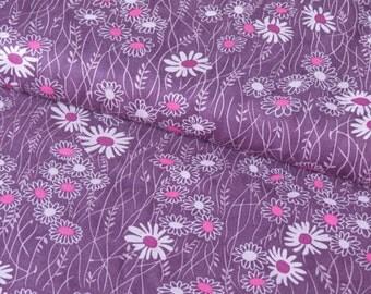 Moda Purple Daisy Flowers cotton woven fabric - UK seller