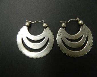 Vintage antique silver plated hoop earrings made in France