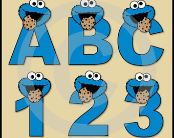 Cookie Monster (Sesame Street) Alphabet Letters & Numbers Clip Art Graphics