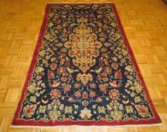 4.4 x 7 Semi Antique Wool Persian Oriental Rug Carpet with 8 Birds #86