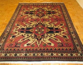 "6'4"" x 8' 100% Wool Hand Knoted Eagle Kazak Tribal Rug Carpet #336"