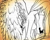 Digital stamp- 'Wings' -300dpi jpeg/png files - MAC0228
