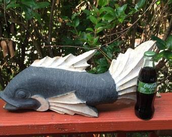 Wooden fish sculpture