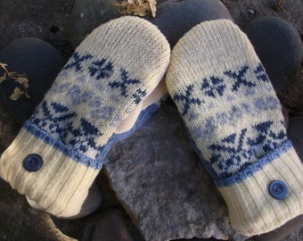 Sweater Mittens, made from upcycled recycled sweaters, in yellow and blue design, fleece lined