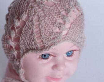 knit baby bonnet, newborn bonnet, lace bonnet, lily of the valley bonnet, ready to ship, newborn photo prop, photography prop, beige bonnet