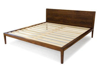 Walnut Platform Bed  No. 1 - Modern Wood Bed Frame - Twin, Full, Queen, King