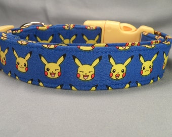 Pikachu Dog Collar, Licensed Pokemon Fabric Dog Collar