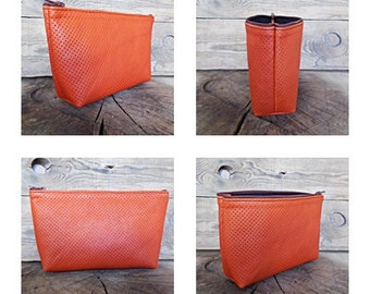 small leather pouch, makeup bag, zippered pouch, orange, nail polish bag, toiletry bag, cosmetic set, travel bag, everyday bag, wedding gift
