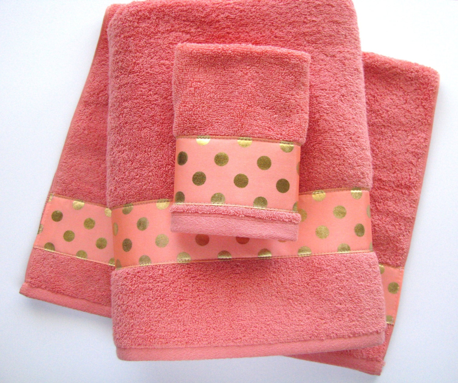 Coral gold towels hand towels bath towels custom by augustave for Pink and gold bathroom accessories