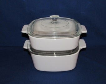 Corning Ware 4 piece Plain White CASSEROLE SET Corningware A-1-B and A-1.5-B Corningware