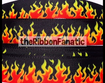 "5 yds 7/8"" Flames Fire Orange Red on Black Red Hot Grosgrain Ribbon"