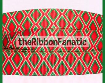 """5 yds 5/8"""" Christmas Diamond Argyle Red Emerald Green White Grosgrain Ribbon"""