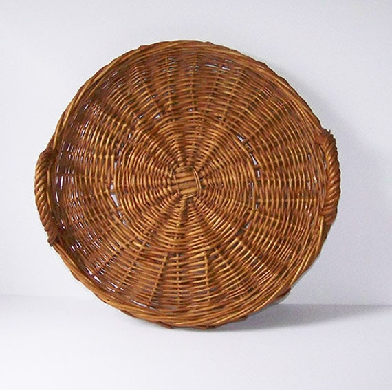 Round Wicker Serving Tray With Handles