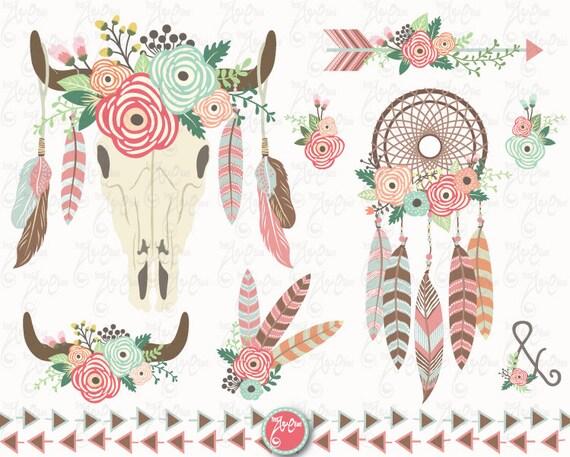 Floral Bull Skull Clip Art Quot Wedding Floral Tribal Quot Clipart