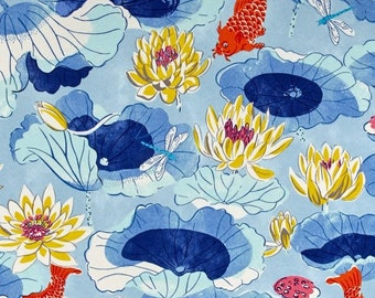 Indoor / Outdoor Weather Resistant Fabric By The Yard - Waverly Sun N Shade Lotus Lake Cobalt Koi Fish - Blue, Orange, Yellow
