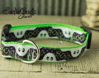 Ghost dog collar - Purple and White Halloween