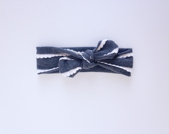 Grey Ruffle Knot Headband
