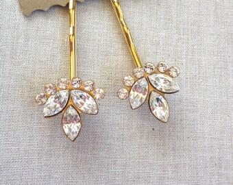 Swarovski Crystal hair pins, rhinestone, set, pair, gift, hair, accessory, rustic, wedding, rhinestone, gold, bridesmaid, hair, vintage