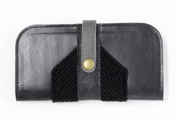 LUDVIKA - big leather wallet with multiples compartment for business cards, purse, pocketbook, billfold - black/grey
