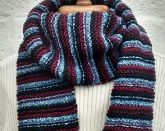 Men's Stripy Scarf - Hand Knitted - Long Scarf - Gifts for Men