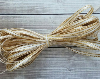 1/8 INCH IVORY Gold-Edged Satin Twine Ribbon