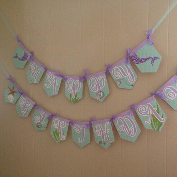 Mermaid Banner, Mermaid Happy Birthday Banner, Mermaid