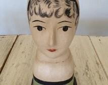 Amazing French Vintage Papier Mâché Mannequin Head Bust - Marotte -Tête de Mannequin - Shop Display - Mid 1970s