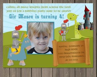 Knight Birthday Invitation, Dragon Castle Birthday Party Invitation, Royal Boys Birthday Invite, Printable or Printed