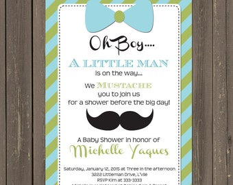 Little Man Baby Shower Invitation, Little Man Shower Invite, Mustache and Bowtie Baby Shower, Baby Boy Invite