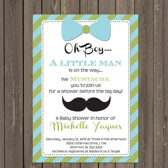 Amazing Mustache And Bow Tie Baby Shower Invitations Part - 4: Like This Item?