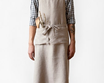 Natural Stone Washed Linen Chef Apron