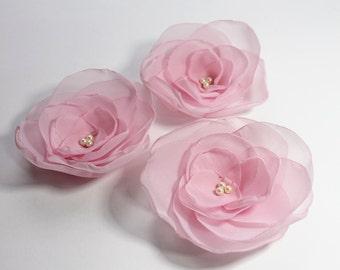 wedding decor, wedding flowers, fabric flowers, flower applique, organza flower appliques, Sew on flower applique, Organza Flowers,